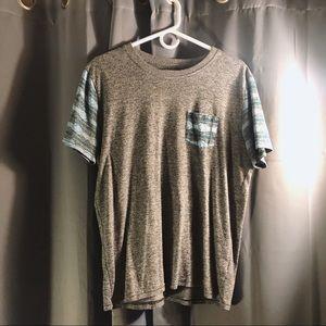 Grey Tee w/ Teal Tribal Sleeve Pattern